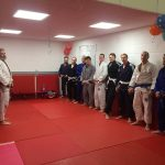 BJJ Sasquatch class line up at the start of the lesson.